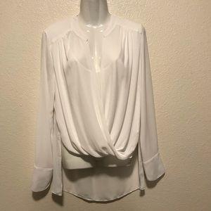 BCBG Max Azria White Sheer High Low Blouse Size M